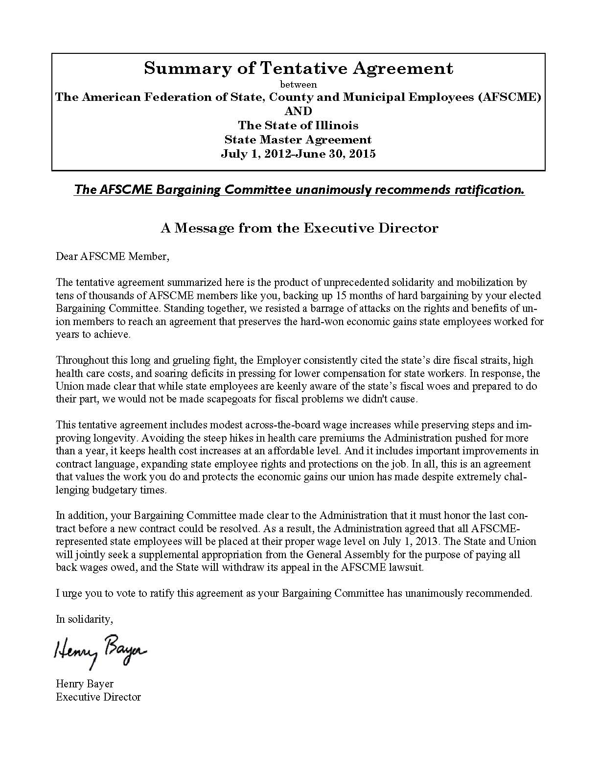 State Contract Summary Afscme Council 31